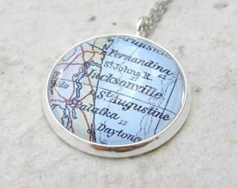 Jacksonville Map Necklace - Featuring St Augustine and Daytona Florida - Custom Map Jewelry - Great Mothers Day Gift