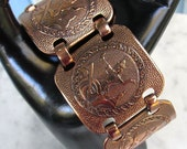 Vintage 1970's Copper Bracelet, Wide Linked Medallions with Raised Images, Fold Over Clasp, 7 inches... Excellent Condition