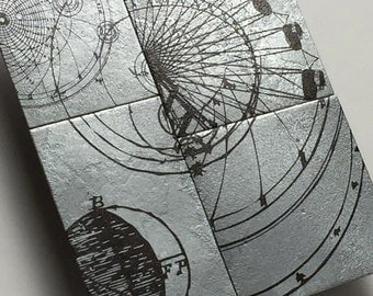 Silver spiral lunar orbit science metal wall art, Astronomy illustration, Scientific drawing on etched metal by Copper Leaf Studios