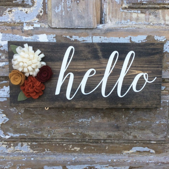 Items similar to hello wood sign home decor hello sign on etsy for I sign decoration