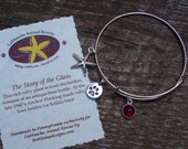 LaMancha Animal Rescue Adjustable Wire Bangle/Available in ruby or black recycled vintage glass