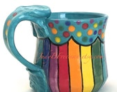 Ceramic Rainbow Mug Handmade Wheel Thrown Stoneware Coffee Cup Hand Painted Made to Order 12 Ounces MG0026