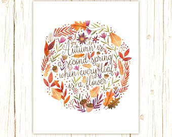 autumn is a second spring art print -- camus quote hand lettering typography illustrated art