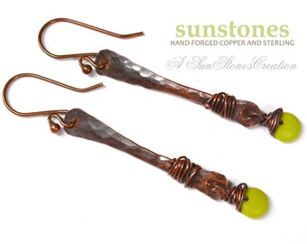 Rustic Copper Stick Earrings E871