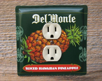 Antique Kitchen Decor Vintage Metal Canister Old Tin Outlet Cover Made From A Del Monte Hawaiian Pineapple Can Wall Art OLC-1069