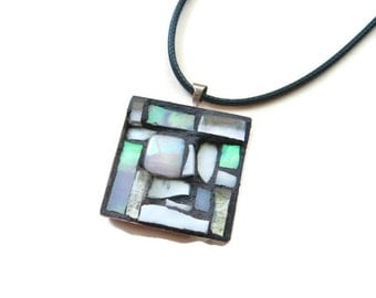 Pearlescent White Mosaic Pendant