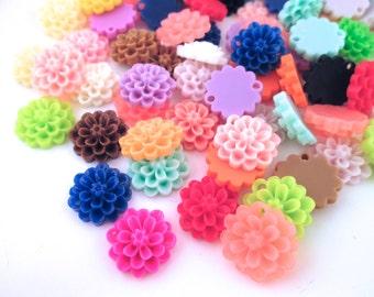 10 multicolor 14mm flower cabochon connectors