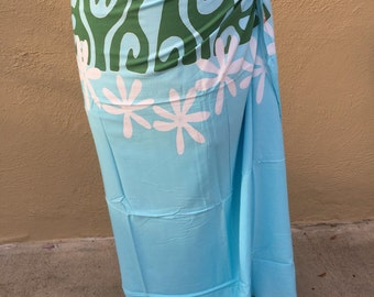 Sky blue, green and white tattoo tiare premium Tahitian pareo, Tahitian fabric, full and half sized, pareau