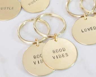 LARGE Word Brass Keychain Hand Stamped - SALE