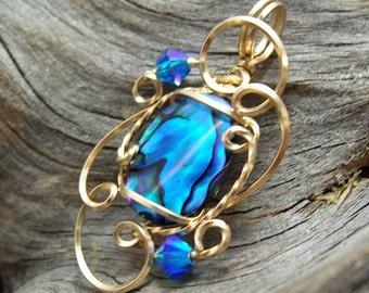 Amazing Brilliant Blue Paua Shell Mini-Sculpted Pendant