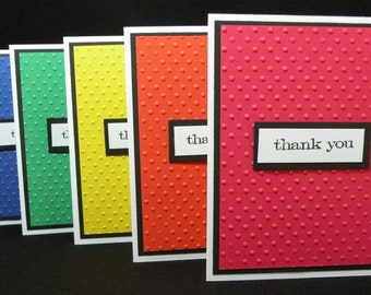 Swiss Dot Primary Colored Vertical Embossed Thank You Note Cards - Set of 5, Blank Note Cards, Stationary Cards - With Embossed Envelopes