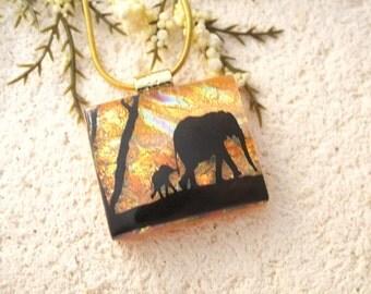 Elephant Necklace, Elephant Jewelry, Dichroic Jewelry, Fused Glass Pendant, Fused Glass Jewelry, Mother & Baby, Glass Necklace, 020316p102