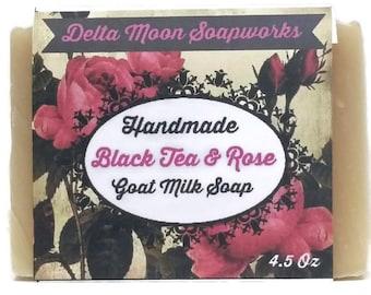 Handmade Rose Goat Milk Soap, Shea Butter Soap, Cold Process soap,  Rose Soap, Black tea & Rose Soap, for sensitive skin,olive oil soap