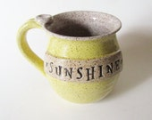 In Stock, Sunshine Mug, Glazed in Yellow and Speckled White, Ready to ship