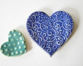 Fun Nesting Hearts - Set of Two Ring Dishes or Ceramic Pottery Spoon Rests