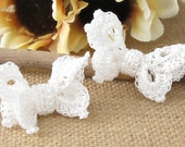 Crochet Butterfly Hair Clips, White Cottage Chic Lace Hair Clips for Girls, Women, Wedding White Bride, Flower Girl Hair Accessory