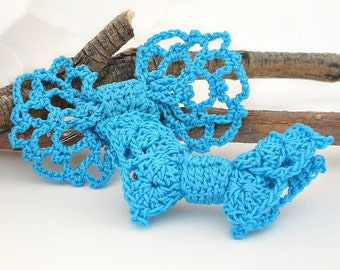 "Crochet Hair Bow, Cottage Chic Lace Hair Bow Clips for Girls, Women, Royal Blue, 3"" Hair Bow Accessories, Hair Bow Set"