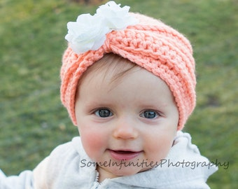 Infant Crochet Hat Pattern for Turban Hat Beanie Cap with Flowers Toddlers Photo Prop PDF Instant Download