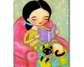 Original SIAMESE CAT folk art painting Reading books before bed with Seal Point Siamese cute artwork by Tascha