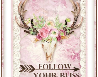 Follow Your Bliss Jurnal Mini Book Shabby Cottage Chic Kit 11 Pages INSTANT DOWNLOAD Digital Printable
