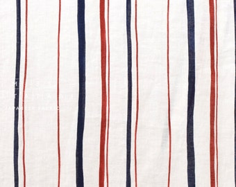 Japanese fabric abstract striped linen - navy blue, red, cream - 50cm