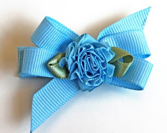 Blue Flower Hairbow. Toddler Hair Clippie With Non-Slip Grip. Girls Hair Clip Set of 2. Grosgrain Ribbon Hair Bows With Ribbon Flower Center