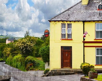 Quaint Town, Irish Pub, CO. CORK, Irish Decor, Ireland Souvenir, Durrus, Pink House,Carling, GAA,Sheeps Head, Yellow House, Irish Photo Card