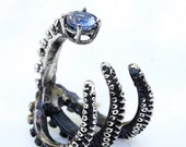 Beautiful octopus ring sterling silver tentacle claw rings with 14k white gold setting and Tanzanite ring open shank design by Zulasurfing