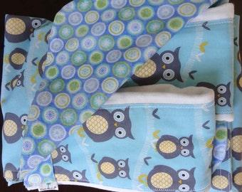 Newborn Gift Set - Sweet Baby Owls Receiving Blanket/Burp Cloths