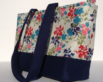 Colorful floral with Navy handbag, purse.  Medium handbag.