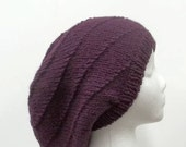 Purple knitted slouchy beanie hat, large  5160