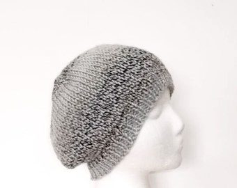 Knitted beanie hat, gray and brown, beanie beret, handmade  5185