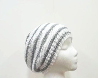 Gray and white stripes hand knitted beanie hat   5145