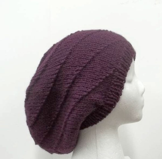 Knitting Pattern For Mens Oversized Beanie : Knitted Oversized beanie for men or women purple 5160
