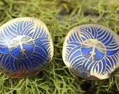 VINTAGE Laurel Burch blue ESKIMO LION pierced earrings