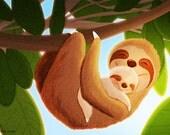 "Sloth Art, Nursery wall art, Kids Art, Art for Nursery - ""The Slow Life"""