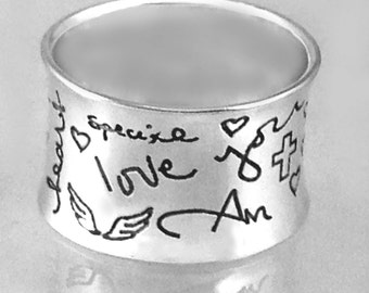 Own Handwriting Concave Wide Band by donnaodesigns