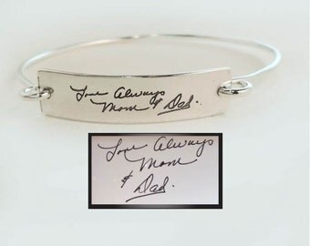 Actual Handwriting Sterling ID Bangle Bracelet by donnaodesigns