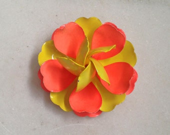 Vintage Brooch, Pin, Flower Pin, Flower Brooch, Enamel over Metal, Corsage Pin, Orange, Yellow, 3 Dimentional, Big, Mod, 1960's