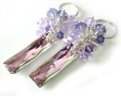 Crystal Baguette Earrings, Swarovski Vitrail Light Queen Baguette, Crystal Cluster, Pink, Lavender, Violet, Tanzanite, Beaded Earrings