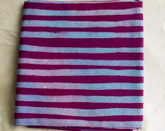 Two Stripes Hand Dyed and Patterned Cotton Fabric/ Pale Blue and Raspberry