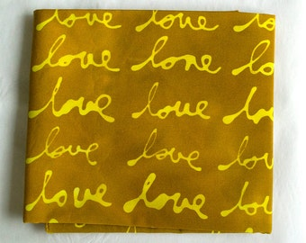 LOVE Hand Dyed and Patterned Cotton Fabric/ Yellow and Amber