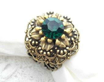 Emerald Isle Antiqued Brass Vintage Style Adjustable Ring