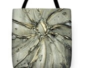 Designer Art Tote Bag - abstract grey and gold print, sophisticated statement fashion tote from Susanna's art