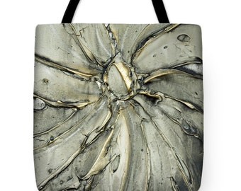 Modern Grey Tote Bag - wearable art abstract grey gold shopping tote, beach bag, supermarket bag, green reusabe grocery bag
