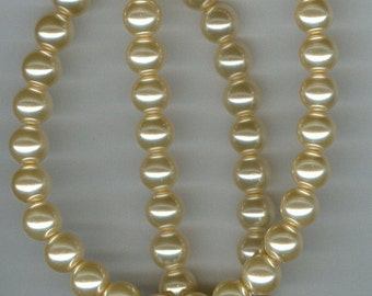 CLEARANCE 8mm Cream Glass Pearl Round Beads