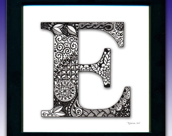 Framed 'E' Monogram Print