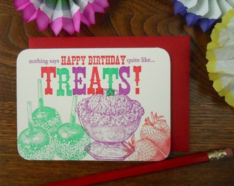 letterpress nothing says happy birthday quite like treats! greeting card red green purple birthday card