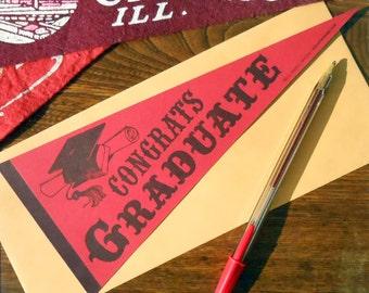 letterpress congrats graduate vintage pennant flat card red & navy high school, college graduation card or decoration
