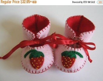 20 % off Summer Sale Yummy Pink Strawberry ECO Babies Shoes Baby Girl Booties Soft Baby Shoes perfect as a Baby Shower Gift